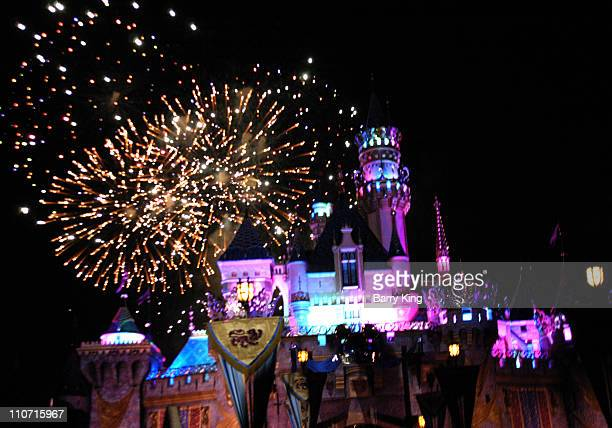 Sleeping Beauty's Castle and Dreams Come True Fireworks Show at Disneyland 50th Anniversary Celebration