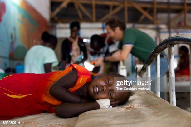 A sleeping child photographed inside the paediatric department of Malakal Teaching Hospital where ICRC doctor Giorgio Monti and nurse Turid...