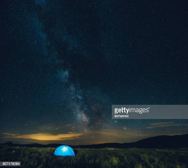 Sleeping in a tent under the starry sky