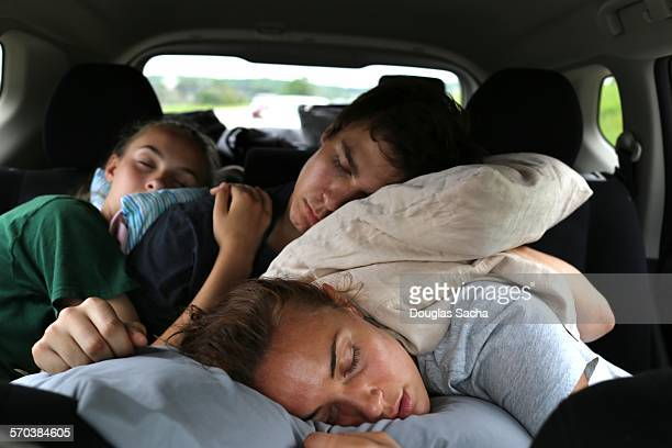 Sleeping kids on a road trip
