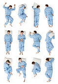 Sleeping positions seen from top isolated on a white background