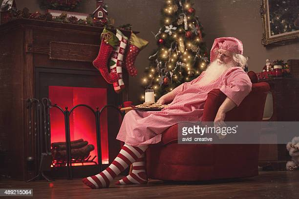 Sleeping Santa in Sofa Chair with Milk and Cookies-Vintage