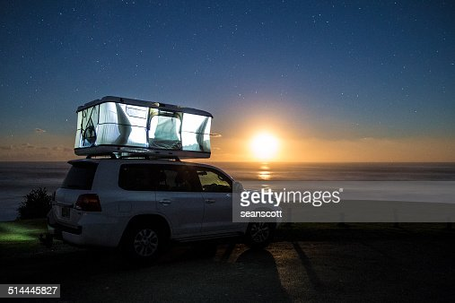 Sleeping tent on top of car
