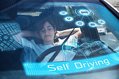 sleeping woman in autonomous car. Driverless car. Self-Driving car. UGV (unmanned ground vehicle).