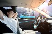 sleeping woman in autonomous car. self driving vehicle. autopilot. automotive technology.