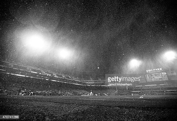 Sleet falls onto the field in the top of the seventh inning during the game between the Pittsburgh Pirates and the Chicago Cubs at PNC Park on April...