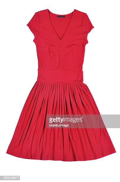 A sleeveless one-piece red dress