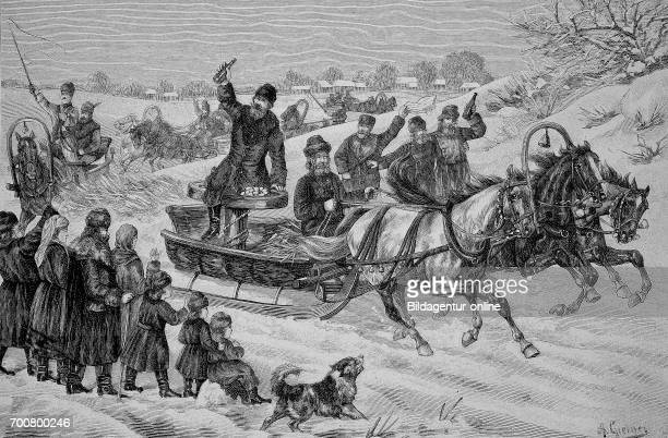 Sleigh ride on the river Rade during the Maslenitsa butter weeks festival in Russia Woodcut from 1892