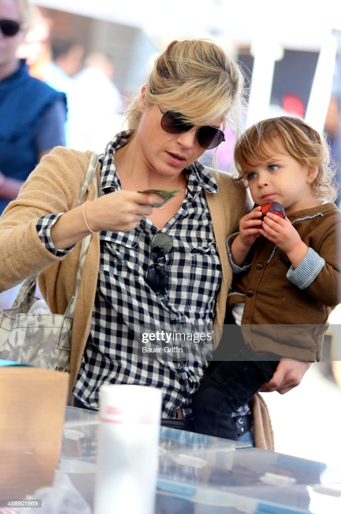 Slema Blair and her son, Arthur Bleick, are seen at the Studio City Farmers Market on December 22, 2013 in Los Angeles, California.