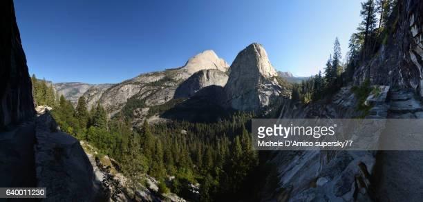 Slender granite domes and Vernal Falls in Yosemite National Park
