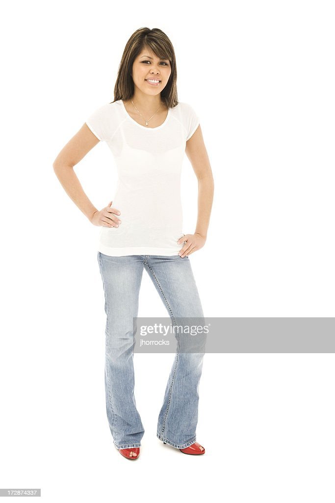 Slender Young Woman In Tshirt And Jeans Stock Photo | Getty Images