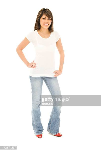 Slender Young Woman in T-shirt and Jeans
