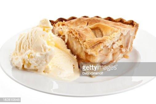 Slice Of Apple Pie And Vanilla Ice Cream