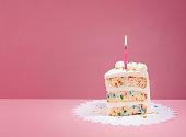 Slice of Colourful Birthday Confetti Cake with a lit candle over a pink background.