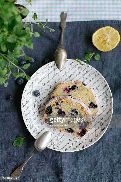 Slice of blueberry lemon cake