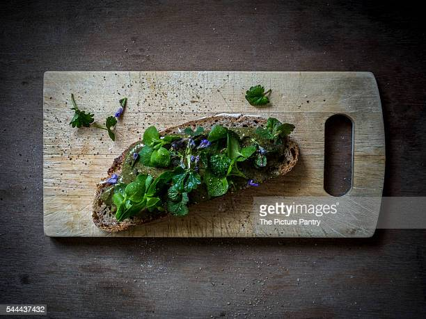 Slice of bread on wooden board with wild herbs. Top view