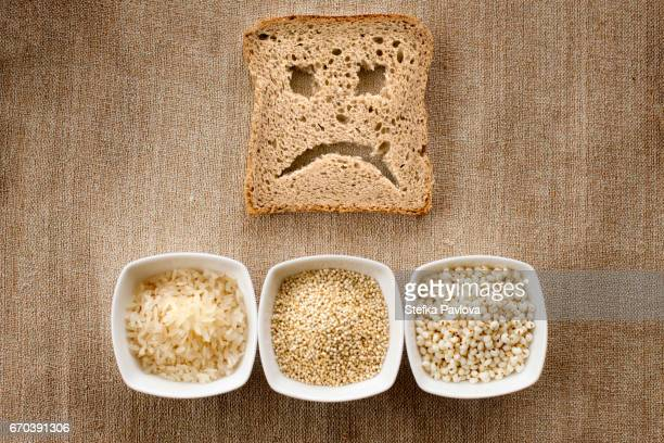 A slice of bread toast with a sad face and Gluten Free Ingredients