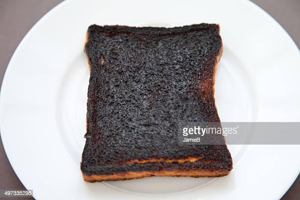 Slice of burnt toast on a plate