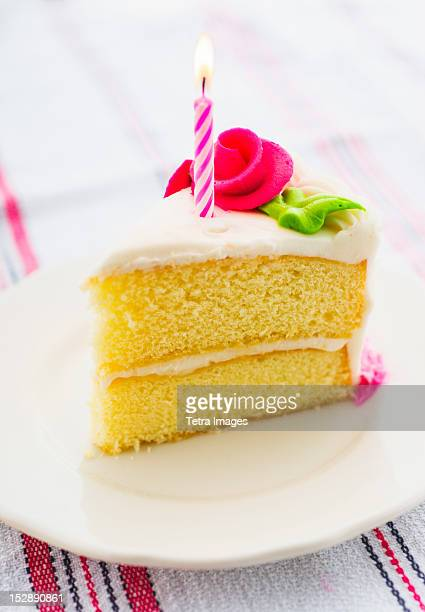 Slice of cake with candle