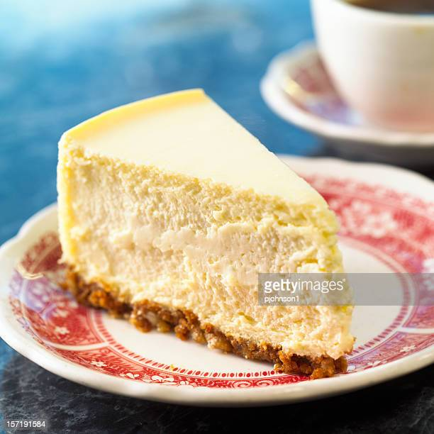 Slice of cheesecake on a red and white plate