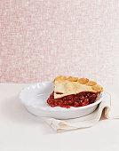 Slice of Cherry Pie on a Dish