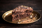Slice of chocolate cake in the plate on wooden background,selective focus