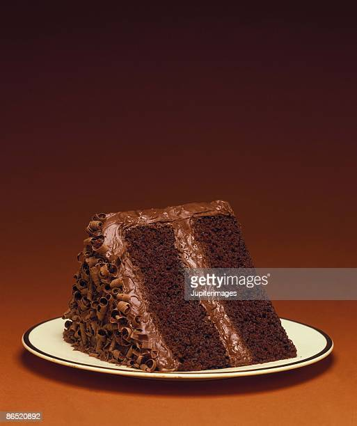 Slice of chocolate layer cake