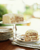 Slice of Coconut cake on plate