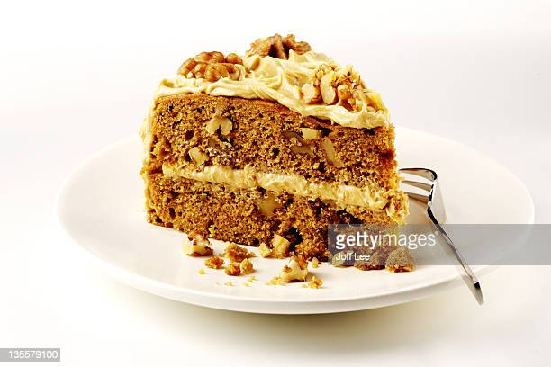 Slice of coffee & walnut cake