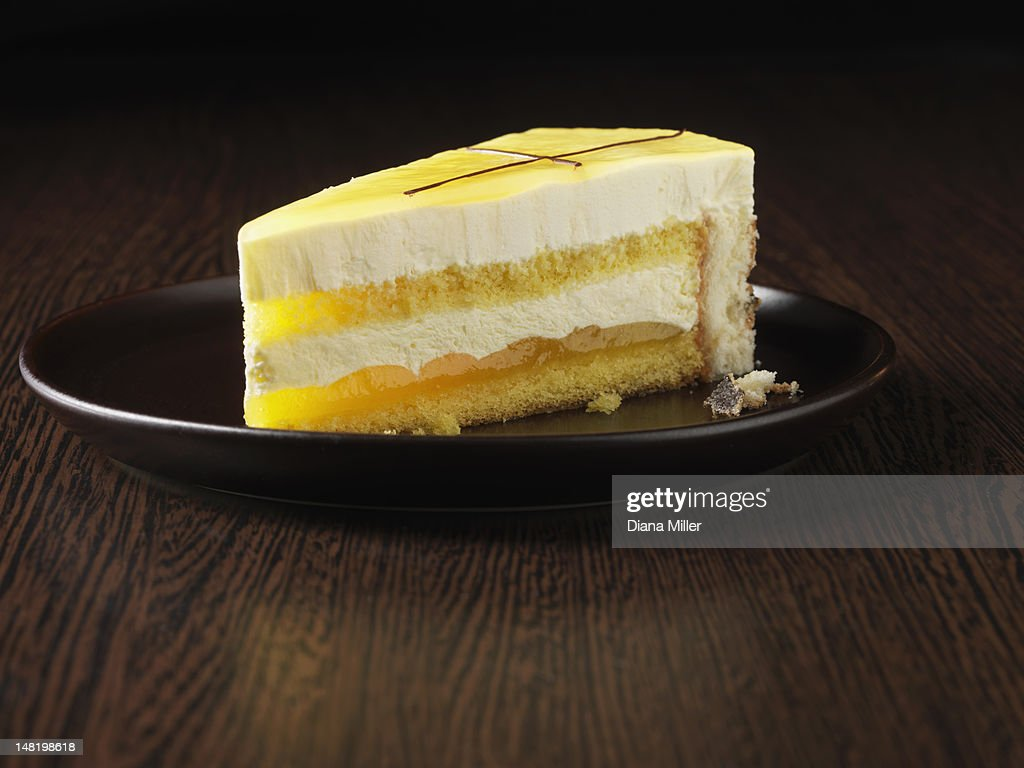 Slice of Cointreau gateau on plate : Stock Photo