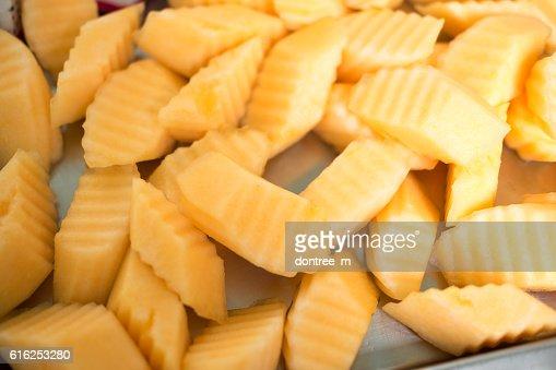 slice of fresh cantaloupe : Foto de stock