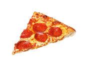 Slice of fresh italian classic original Pepperoni Pizza isolated on white background