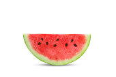 Slice of fresh watermelon isolated on white background. An isolated object.
