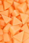 slice of japanese melons, orange melon or cantaloupe melon for background