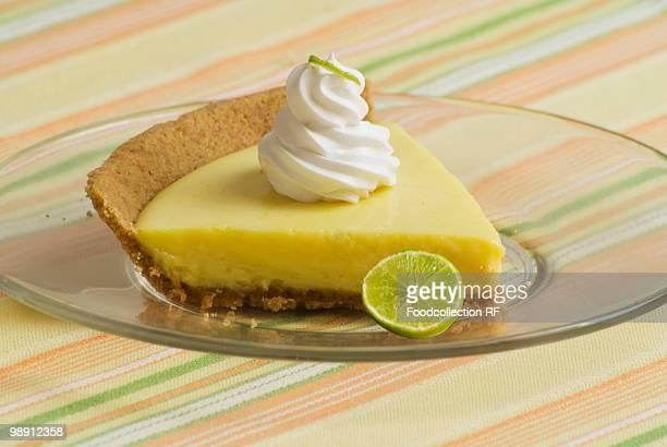 Slice of key lime pie on glass plate, close-up