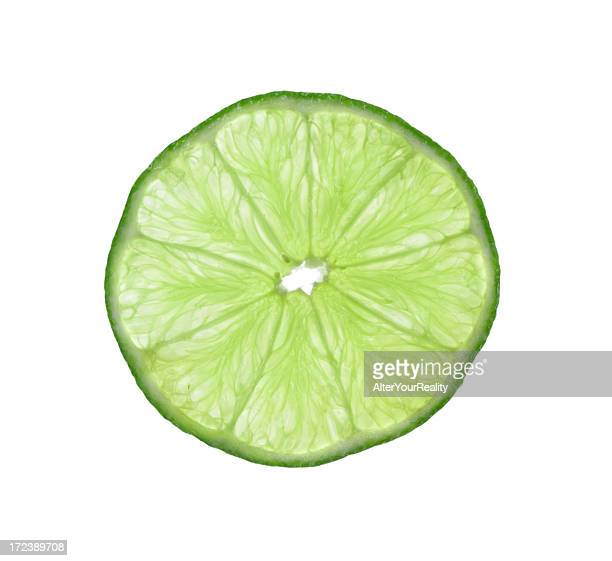 Slice of lime on white backdrop