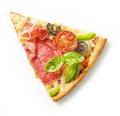 slice of pizza isolated on white background, top view