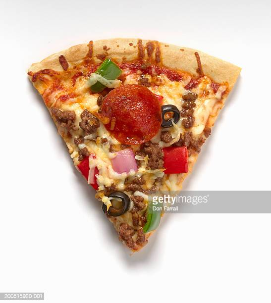 Slice of pizza with several toppings