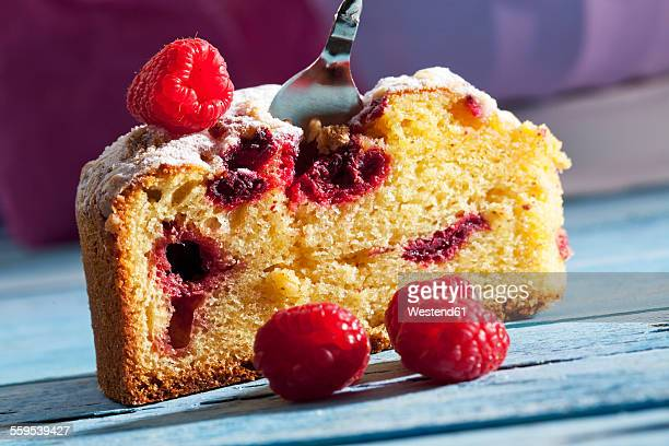 Slice of raspberry cake