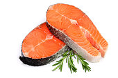 Slice of red fish salmon with rosemary isolated on white background.