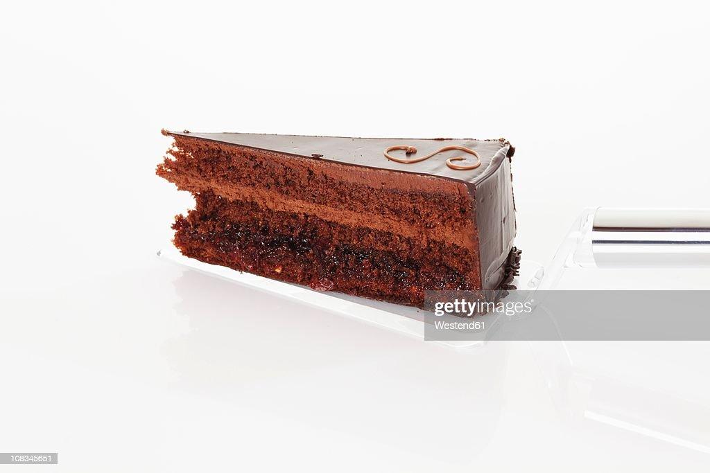 Slice of sacher cake on cake server, close up