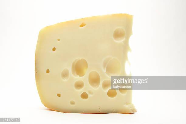 Slice of swiss cheese on white background
