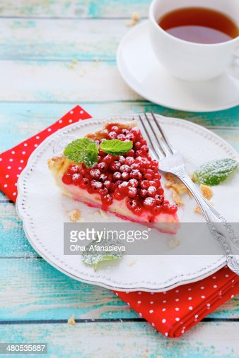 slice of tart with red currants : Stock Photo