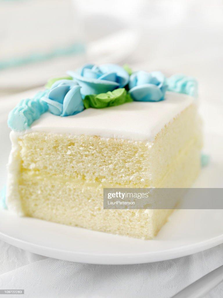 Slice of White Birthday Cake : Stock Photo