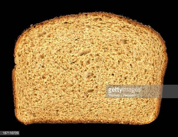 A slice of whole wheat bread