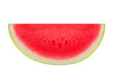 """Slice watermelon fruit  isolated on a white background, close up. Seedless half of Watermelon """"n"""
