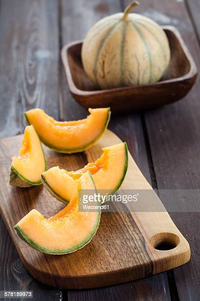 Sliced and pitted Charentais melon