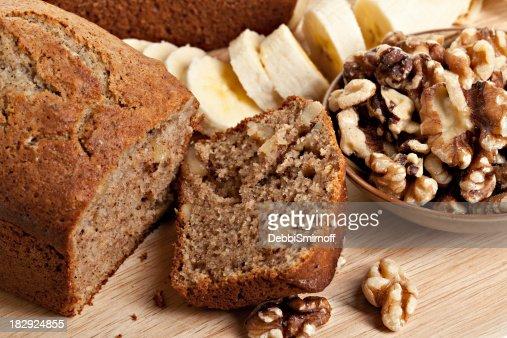 Sliced Banana Bread , Walnuts and Bananas : Stock Photo