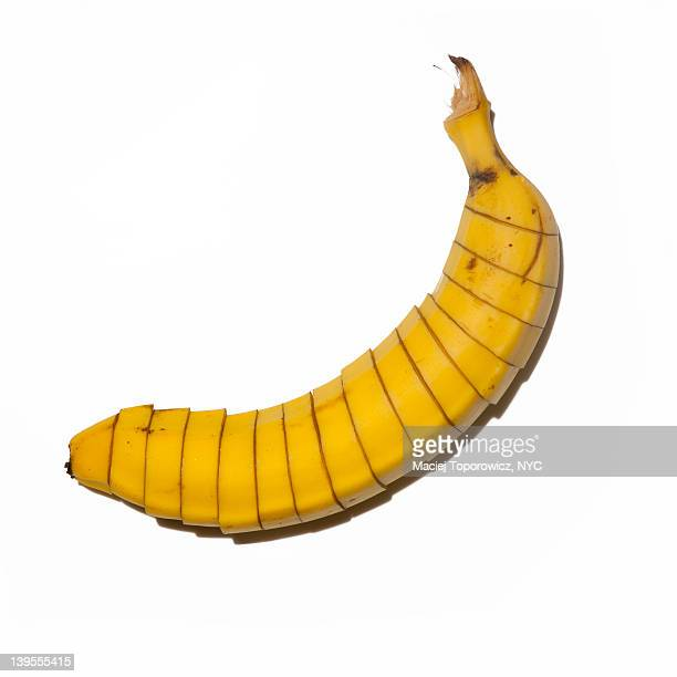 Sliced banana on white background