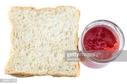 Sliced bread and Strawberry jam : Stock Photo